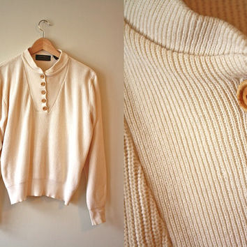 Eddie Bauer Cream Henley Sweater Wood Button Up Womens Large