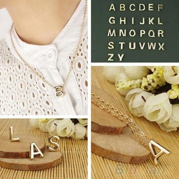 Fashion Women's Metal Alloy DIY Letter Name Initial Link Chain Charm Pendant Necklace