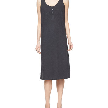 Hemp Twist Henley Tank Dress, Graphite, Petite, Size: