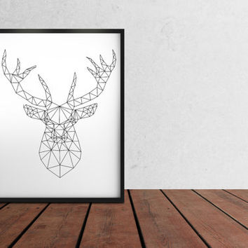Minimal decor Geometric deer print Animal poster Line art TO319