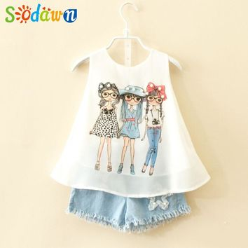 Sodawn   Summer Baby Children Clothes Girls Clothes Sets Fashion Girl Chiffon Design Pearl Vest + Pants Suit Girls Clothing