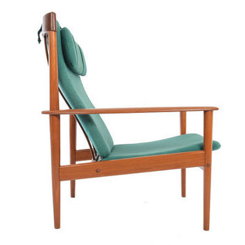 Danish Modern Mid Century Grete Jalk High Back Teak Lounge Chair