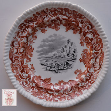 Two Color Transferware Plate Rust Red and Black Spode Copeland Beverley European Scenery