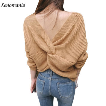 Backless Sweater Pull Femme Oversized Sweater Women Sweaters And Pullovers 2017 Inverno Korean Jumper Pullover Knitting Tricot