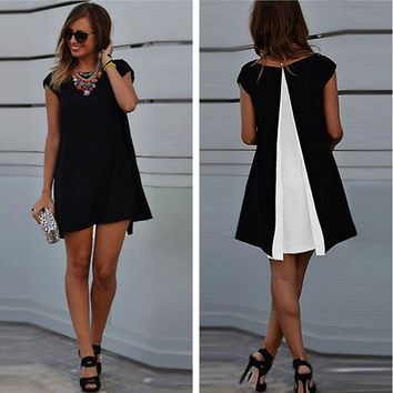 Summer Sleeveless O-neck Black Chiffon Beach Mini Dresses