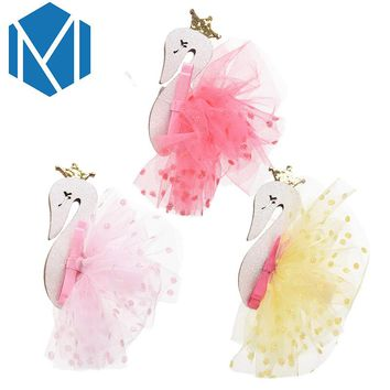 M MISM Kids Swan Headdress With Sequin Dot Yarn Princess Tiaras Girls Cygnus Hair Clips Children Mesh Crown Flamingo Hairpins