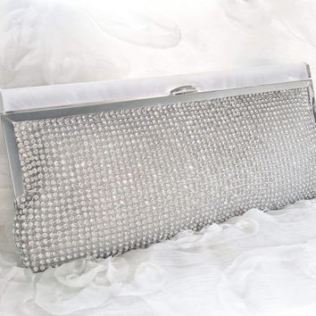 Crystal Wedding Clutch - Bridal Silver Beaded Bag - Silver Formal Purse -  Vintage style - Brilliant Sparkling Clutch - Gift for HER