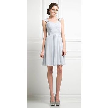 Cinderella Divine 3832 Silver Chiffon Thick Strap Sweetheart Neckline Short Cocktail Dress