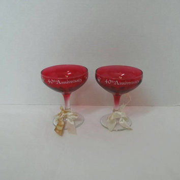 Set of Two, 1985 Vintage 40th Anniversary Ruby Champagne Glasses, Ribbon Trim, 4 5/8 In. Tall, Anniversary Celebration Glasses, Party Glass