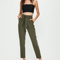 Missguided - Khaki Waist Tie Cigarette Pants