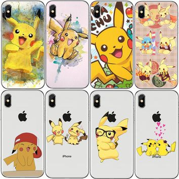 3D Cartoon Pocket Monsters  s Pikachu Case  Anti Knock  Hard   For Iphone 7 6 6S 8 Plus 5S SE X Coque Fundas CapaKawaii Pokemon go  AT_89_9