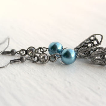 Vintage-Inspired Blue and Brushed Silver Beaded Dangle Earrings - Long Earrings - Handmade Jewelry - Ready to Ship