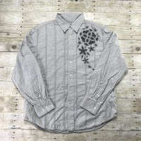 Tommy Bahama Denim Gray Button Up Cotton Shirt Mens Size XL