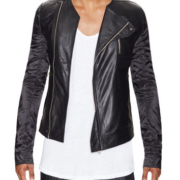 Rick Owens Men's Mesh Back Leather Jacket - Black - Size 46