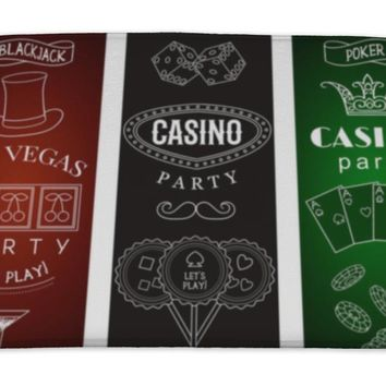 Bath Mat, Casino Party Invitation With Decorative Elements Gambling Symbols Vintage