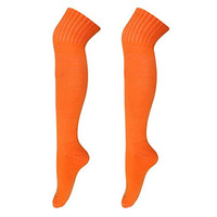 COOLOMG Men's Rugby Soccer Baseball Football Sport Over The Knee Thcik Towel Socks Orange