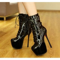 High Platform Round Toe Super Stiletto High Heel Half Boots