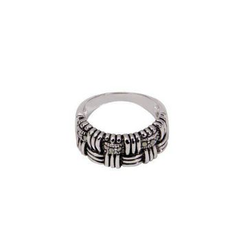 Sterling Silver Band Ring in Woven Like Pattern With Nine Genuine Marcasite Stones in Antique and Rhodium Plate Finish