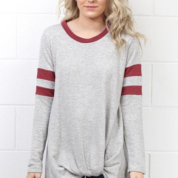 Twisted Front + Ringer Sleeve Brushed Fleece Top {H. Grey}