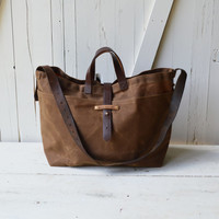 Super Roomy Large Waxed Canvas Tote: Spice, antique military leather, antique fabric pocket.