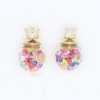 Multicolor Faceted Stone Decorated Ball Crystal Detail Earrings