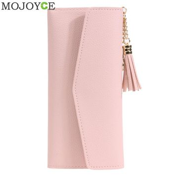 Luxury Brand Designer Women Wallet Fashion PU Leather Wallet Simple Pattern Tassels Purse Pink Women Clutch Long Wallets Purses