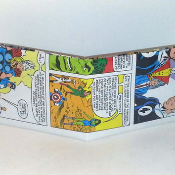 Comic Book Wallet// Secret Wars// Thor, Captain America, Human Torch, Hulk, Storm, Wasp, She-Hulk, Colossus, Professor X, and Mr Fantastic