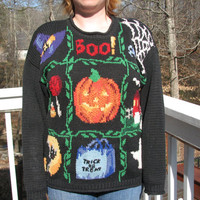 SALE!! Halloween, Halloween clothes, halloween sweater, tacky sweater, holiday clothes, tacky sweater party, unique sweater, pumpkins