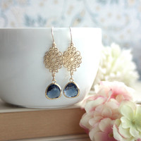 Modern Blue Earrings. Sapphire Blue Spider Filigree Gold Glass Drops Earrings. Wedding Gift. Sister Gift.Bridesmaid Gift, Wedding Gift.