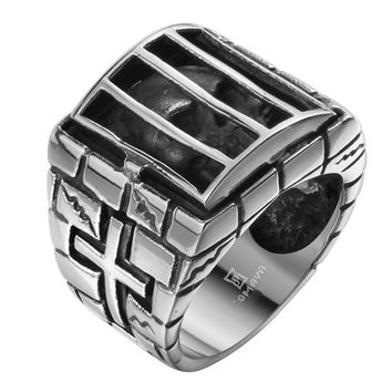 Mens Silver Black IRON men ring personality Antique skull cage stainless steel ring cross 316L Stainless Steel Ring