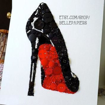 8x10 Button Art Stiletto Christian Louboutin Buttons & Swarovski Crystal Art Rhineston