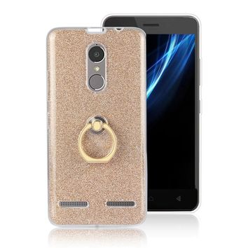 For Lenovo K6 Power Flash Powder Relief Phone Case TPU Silicone Soft Back Cover With Fingers Buckle Standing Mobile Phone Shell