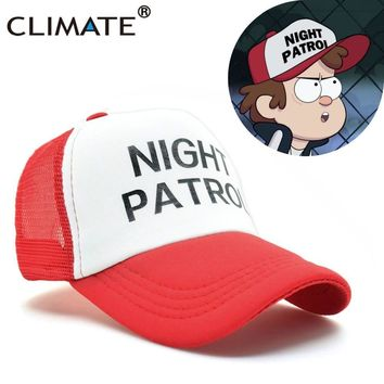 Trendy Winter Jacket CLIMATE Gravity Falls Dipper Caps Night Patrol Family Cosplay Cool Red Mesh Cas Summer Cool Baseball Mesh Net Trucker Caps Hat AT_92_12