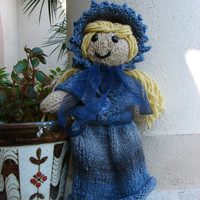"Adult Cosette, Les Miserables Doll Collection, Hand Knitted, approx. 13"" tall"