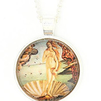 Birth of Venus Necklace Silver Tone Renaissance Art Boticelli Print Pendant NP55 Fashion Jewelry