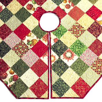 Quilted Christmas Tree Skirt -Octagon Red and Gold Tree Skirt Quilt, Elegant Christmas Quilt Decor, Quiltsy Handmade