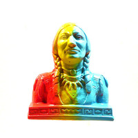 graffiti, sculpture, indian head bust, bust statues, aztec, tribal, home decor, neon art, ombre