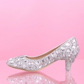 DCCKIX3 Mid heel wedding shoes White Diamond Princess Bride shoes crystal shoes glass slipper = 1930067588