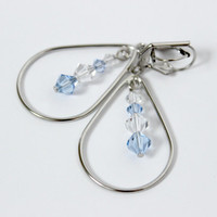 Blue and Clear Swarovski Dangling Teardrop Leverback Earrings - Handmade Jewelry - Long Earrings - Ready to Ship