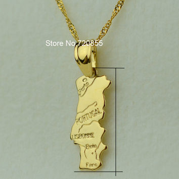 portugal map pendant & necklace chain women - Gold Plated Jewelry Portuguese PRT for Girl Gift Bulk Order Can Discount