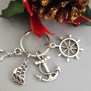 Create Your Own Captain Hook Key Chain Zipper Pull Purse Jewelry Jolly Roger Ship Charm Once Upon A Time KeyChain OUAT Gift