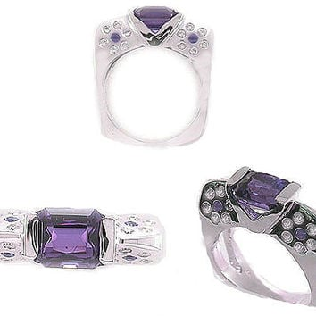 Gift For Wife, Unique Engagement Ring, Diamond Ring, Gemstone Ring, 1.58ct Emerald Cut  Amethyst  Gemstone Engagement  Ring