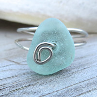 Sea Glass Ring Pale Aqua Genuine Custom Sizes