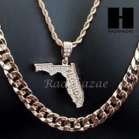 """MEN ICED OUT FLORIDA STATE MAP US PENDANT 30"""" CUBAN LINK CHAIN NECKLACE SET S92G"""