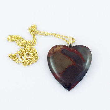 Coprolite Heart Pendant Necklace on Sterling Silver Rope Chain