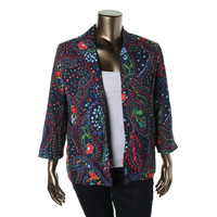 Alfred Dunner Womens Plus Crinkled Paisley Open-Front Blazer