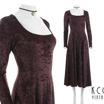 "Crushed Velvet Dress 90s Grunge Clothing Stretchy Shiny Brown Long Sleeved Midi Maxi Dress Vintage Clothing Women's Size S/M - 34-40"" Bust"