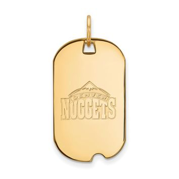 NBA 14k Yellow Gold Plated Silver Denver Nuggets Dog Tag Pendant