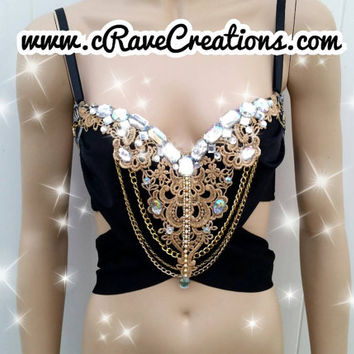Black and Gold Glam Greek Goddess Design Custom Bra Costume Lingerie Rave Bra