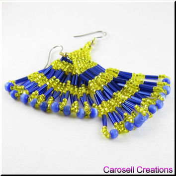 Layered Serenade Native American Style Beadwork Chandelier Seed Bead Earrings in Yellow and Blue